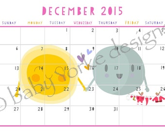 Cute sunshine and cloud papercut style downloadable print at home wall calendar - pastel colours