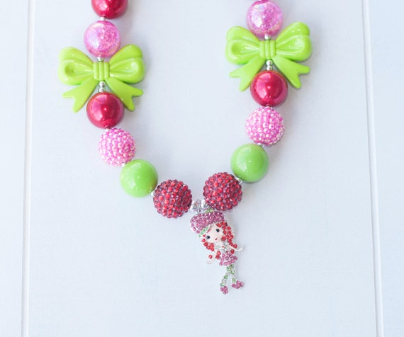 Strawberry shortcake chunky bead necklace with darling for Strawberry shortcake necklace jewelry