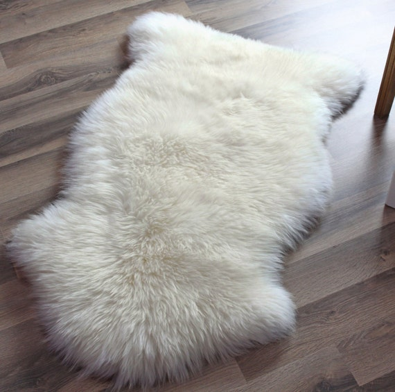 Genuine Sheepskin Rug Single Pelt Ivory White Fur Approx. 2ft