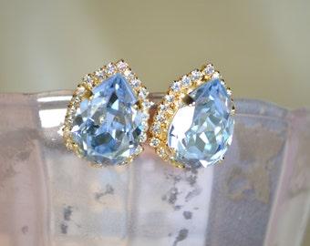 Crystal Blue Swarovski Pear Earrings - 14k Gold Plated
