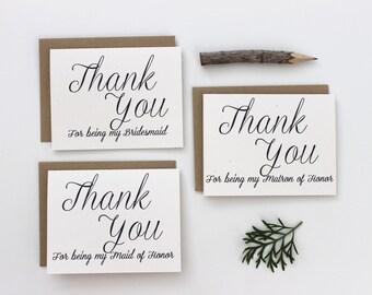 To My Bridesmaid, Thank you Bridesmaid, Wedding Party Thank you Cards, Thanks, Romantic,Bridesmaid Thank you, Maid of Honor Set of 5,