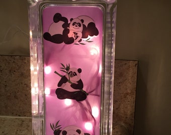 Panda Night Light-Glass Block with lights-Purple Panda Night Light-Panda Bedside Lamp-Girl's Night Light-Purple Night Light-Panda Decor