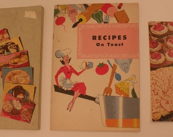 """Betty Crocker's Bisquick Party Book, Recipes on Toast, Jane Ashley's Newest Recipes for Better Meals Promotional Booklets from the 1950""""s"""