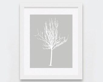 Printable Decor, White Tree Art Print, Neutral Art, Minimal Art Print, Gray and White Nature Art Print, Instant Download