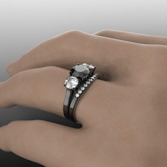 14k black gold 3 stone engagement ring and wedding band set