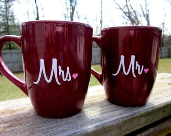 Mr. and Mrs. Coffee Mug Set- Burgundy Coffee Mugs