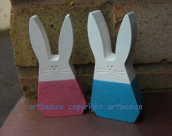 Bunny rabbits - wooden rabbits - set of 2