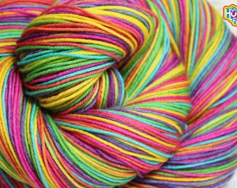 Sometimes Ya Just Need A Rainbow! DYED TO ORDER 100g Fingering Glitter Sparkle Sock Yarn - 435yd 75/20/5% Superwash Merino/Nylon/Stellina -