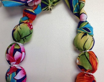 Hawaiian Tropical Flowers Bright Fabric Wrapped Wood Bead Bracelet