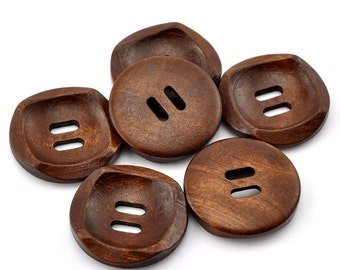 Modern Design Wooden Buttons 30mm.  Deep Chestnut Colour Sewing Knitting Scrapbook and other craft projects