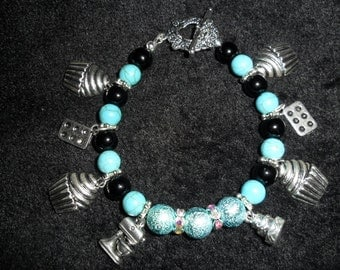 Healing Stone Bracelet- Semi Precious Black Onyx and Turquoise with 8 Bakers charms - HEAL68