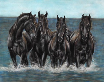 The Sea Horses -Limited Edition Mounted large artist print seascape direct from studio