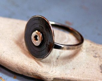 Handcrafted Sterling Silver Record Ring - MADE TO ORDER