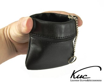 Leather Squeeze Key Case Coin Purse with key holder, spring key case, Squeeze to open - soft and durable natural leather