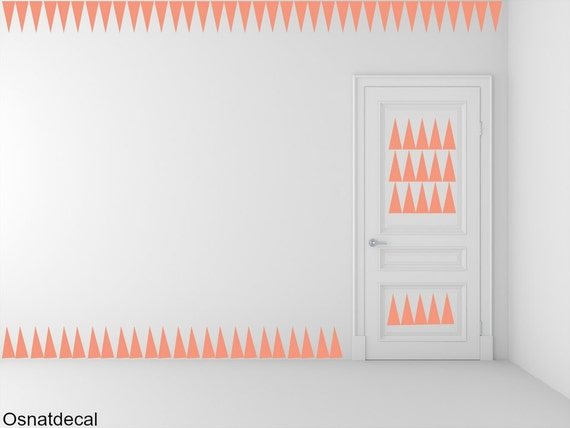 FREE SHIPPING Wall Decal Orange Triangle. 122 Wall Decal. Nursery Decal. Vinyl Wall Decal. Kids Wall Decal. Children Room.