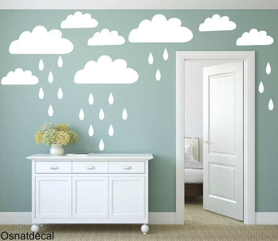 FREE SHIPPING Wall Decal Clouds& Drops Color White 94 Wall Decal. Nursery Decal. Vinyl Wall Decal. Home Decor.Housewares. Children Decal.