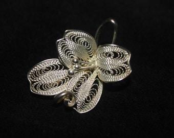 silver broche, flower