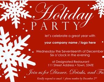 Customizable Holiday Party Invitation - Holiday, Office, Gathering, Festive Invite