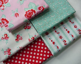 Fat Quarter Bundle, Penny Rose Milk Sugar & Flower Fabric Bundle, Red, Pink and Mint Green Fabric, Riley Blake Designs, 1930s Cotton Fabric