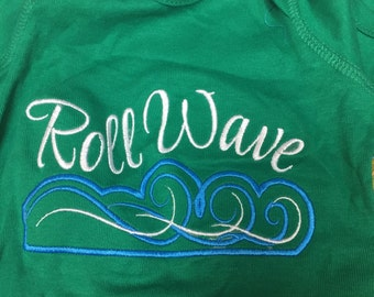 Tulane Roll Wave Embroidered Shirt or baby size onesies