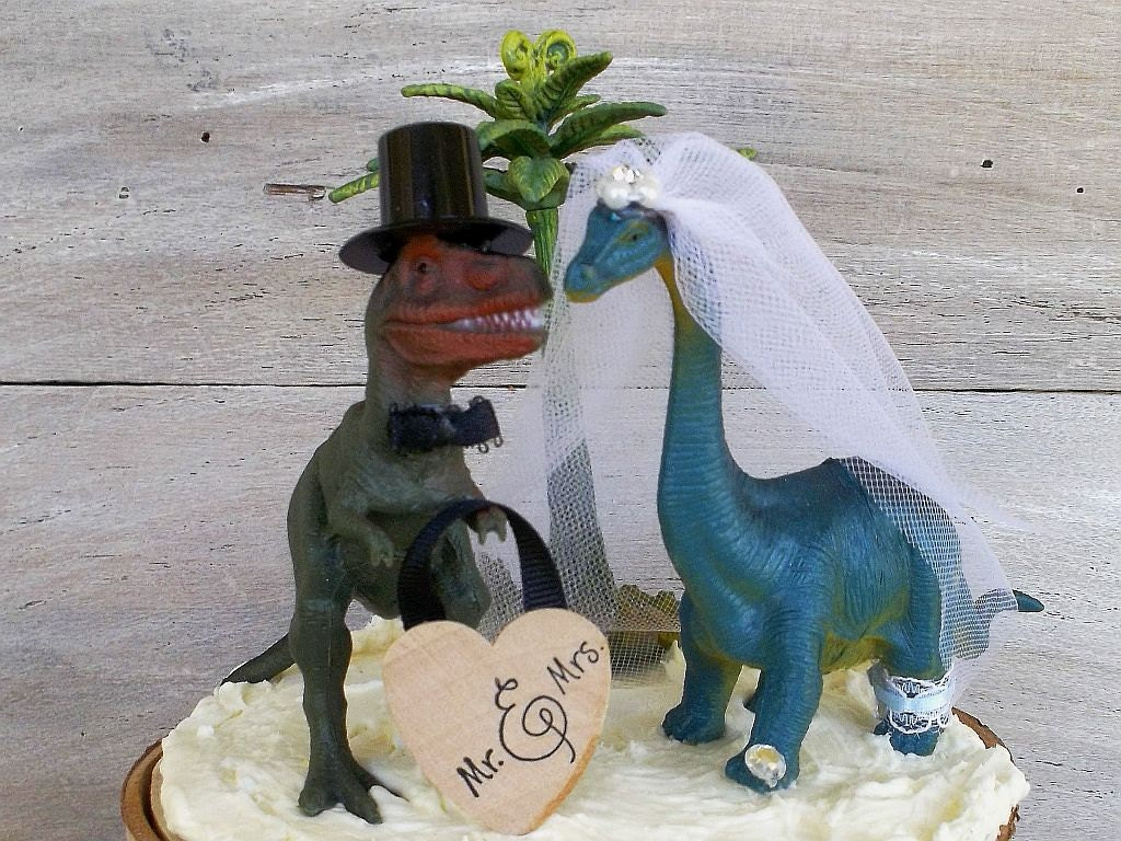 gold dinosaur wedding cake topper cake topper wedding cake topper dinosaur amp groom 14751