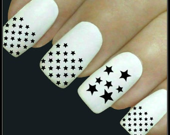 Nail Decal Star Nail Art 20 Stars Water Slide Decals Fingernail Decals