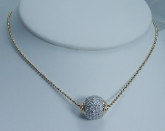 Estate Jewelry 14K Yellow Gold 1.56ct Diamond Ball Slide Necklace with Chain