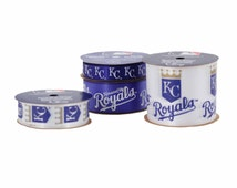 Offray 4-Pack MLB Kansas City Royals Ribbon, Blue/White