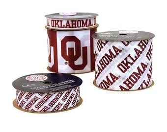 Offray 4-Pack Oklahoma University Sooners Ribbon, NCCA ribbon  Offray College Ribbon