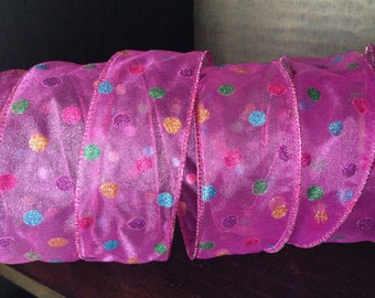 """Hot pink sheer ribbon with multi color polka dots, wired, 2"""" wide, 4 yards"""
