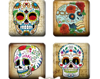 "Sugar Skull Dia de los Muertos Square Tiles Sugar Skull Jewelry Art Skull Digital Necklace Supplies Scrabble Tile size 1"" Square"
