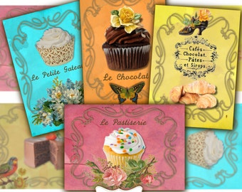 Le Patisserie- Printable Shabby Chic Cupcake Digital Collage Sheet Gift Tags Labels Digital Download Digital Postcards Aceo ATC