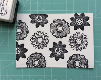 daisy stamp. daisy flower. rubber stamp. hand carved stamp. mounted