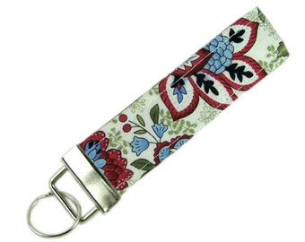 Personalized Key Chain / Key Fob Jacobean Floral With Optional Initials