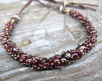 Garnet necklace Leather necklace Gemstone necklaces Handmade jewellery January birthstone jewelry Presents for mum Housewarming gift for her