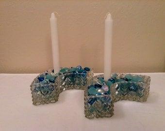 Cut Glass Candleholder Pair