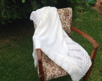 Hand knitted, traditional lace baby shawl. MADE TO ORDER
