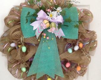 Gorgeous Easter Egg Garland Deco Mesh Wreath