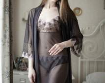 Luxury wedding lingerie set camisole and robe honeymoon hen party special events gift