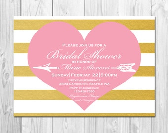 Pink, Gold White Bridal Shower Invitation - Heart, Stripes - Printable 5x7