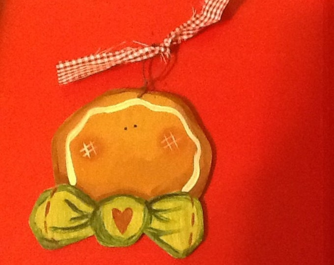 gingerbread ornament, gingerbread gift tag, gingerbread grab bag, country gingerbread, christmas gift tag, Tole gingerbread ornament