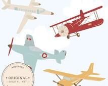 Professional Airplane Clipart & Airlplane Vectors - Airplane Clip Art, Airplanes Clip Art, Vintage Airplanes, Biplane Clipart