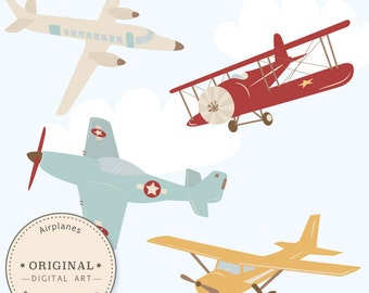 Professional Airplane Clipart & Airlplane Vectors - Airplane Clip Art, Airplanes Clip Art, Vintage Airplanes, Biplane Clipart