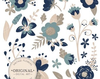 Premium Navy Blue Floral Clipart & Flower Vectors - Navy Flowers, Vintage Flowers, Flower Clip Art, Vector Flowers
