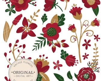 Premium Christmas Flowers Clipart & Floral Vectors - Christmas Floral, Vintage Flowers, Flower Clip Art, Vector Flowers