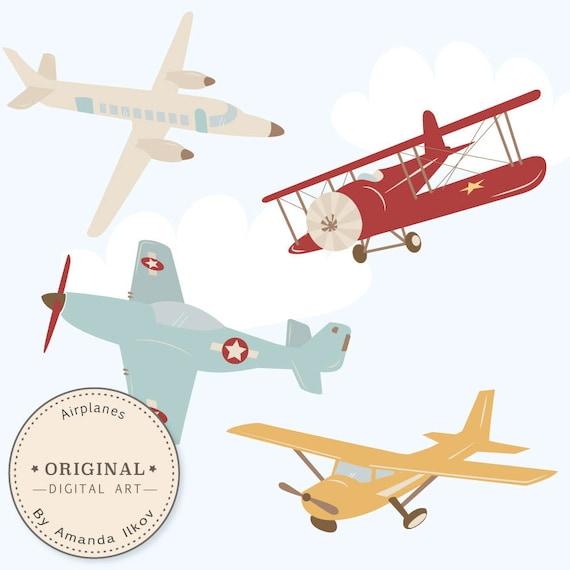 Quiltzaubereide Luftpost Vintage Flugzeugstoff - Red