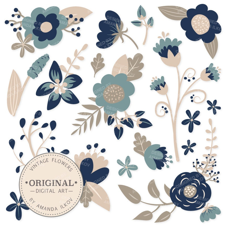 premium navy blue floral clipart flower vectors navy flowers vintage flowers flower clip art vector flowers amandailkov