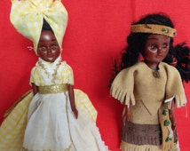 1960s vintage black Americana dolls - 1 x New Orleans African American 1 x Native American - beautiful faces!