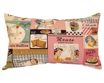 Vintage Retro Lady Baking 50's Cushion Cover
