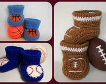 3 Crochet Patterns, Baby Booties, Baseball, Basketball, Football. Instant Download Size 0-6 Months
